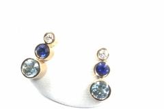 örh med diamant, safir och blå topas